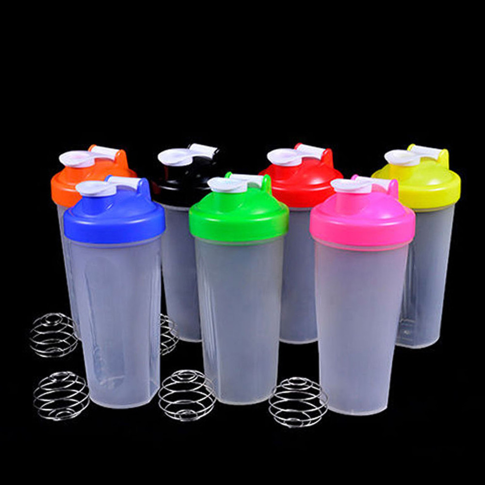 5 Colors Smart Shake Gym Protein Shaker Mixer Cup With Stainless Whisk Ball 400ML/600ML(China (Mainland))