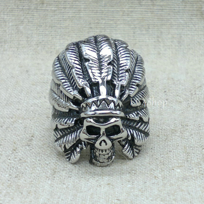 Men's Biker Indian Apache Chief Head Skull Ring Huge Silver Vintage Gothic 316L Stainless Steel Finger Band Wholesale(China (Mainland))
