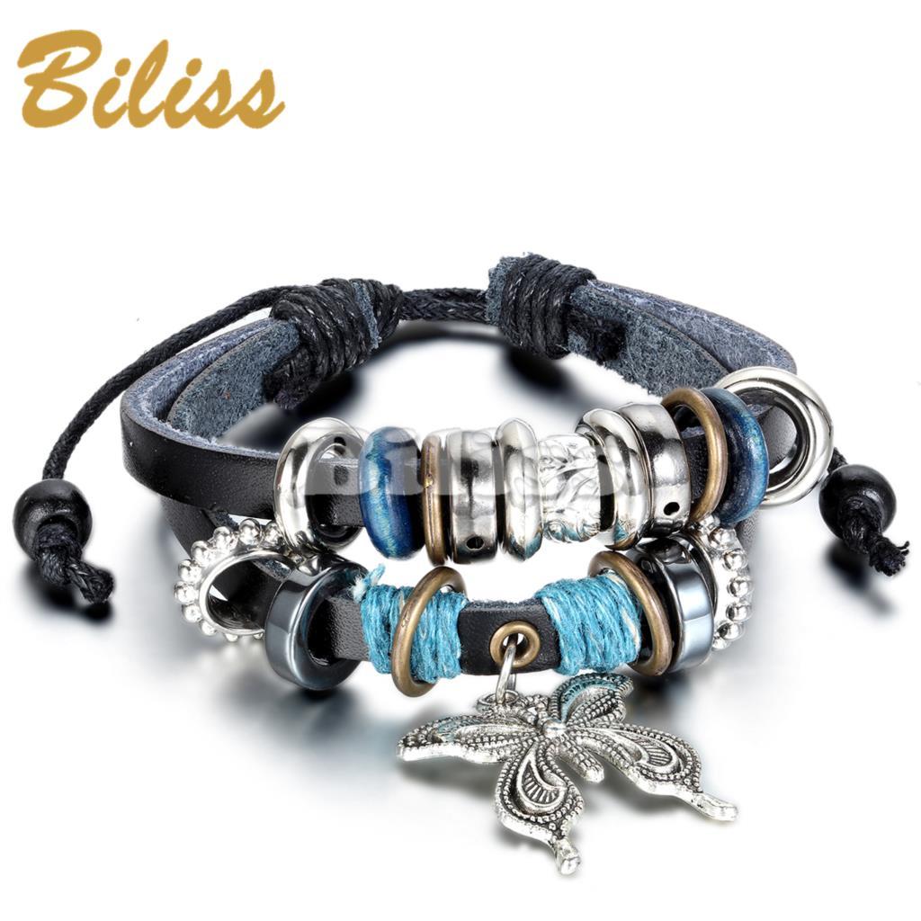 2015 Charm Bangle Vintage Multilayer Butterfly Wood Bead Leather Braided Strand Bracelet Women Bracelets & bangles(China (Mainland))
