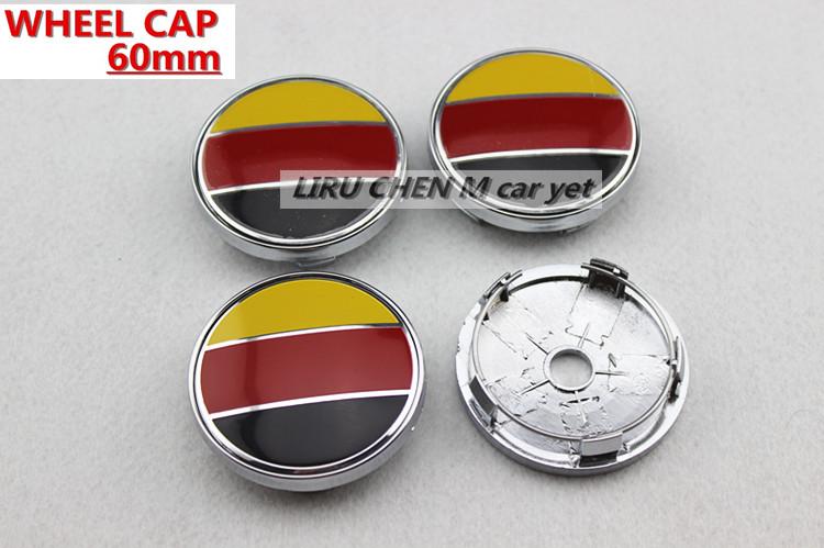 4 X 60MM CAR WHEEL Hub Center LOGO Caps BADGE EMBLEM Metal Aluminum Germany Racing VW Audi FIAT Universal Cars