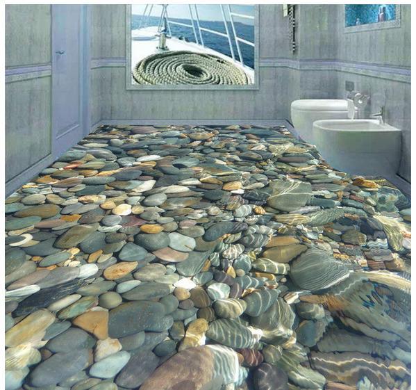 Buy 3d photo wallpaper custom mural pvc clear water cobble for Wallpaper pvc 3d