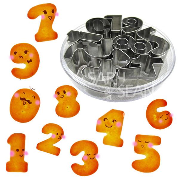 9pcs/set Metal Cookie Cutters of 0-9 Numbers Series Stainless Steel Tools Home Furnishing Products Kitchen Supplies Baking Mold(China (Mainland))