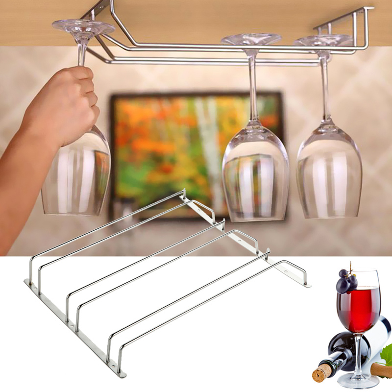 2015 New Arrival 3 Styles New Stainless Steel Wine Glass Holder Stemware Rack Under Cabinet Storage Organizer Free Shipping(China (Mainland))