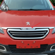 Peugeot 2008 Front hood cover Stainless steel decorative light strip Racing grille up trim 1pcs for