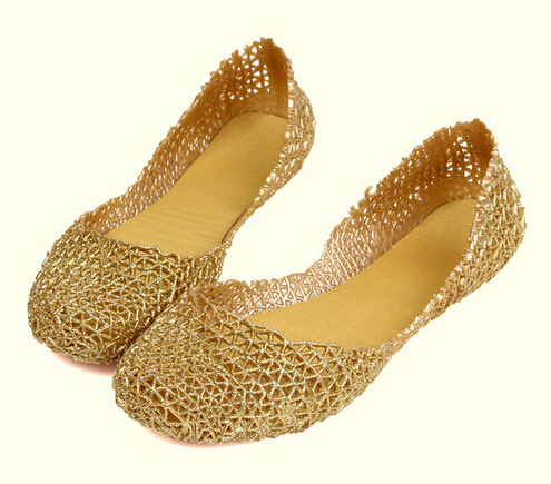 New Summer Breathable Crystal Sandals Bling Jelly Shoes Cutout Flat Heel Bird Nest Mesh Flat Sandals For Women 4 Colors(China (Mainland))