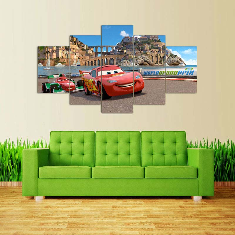 Route 66 cars movie picture painting wall art for room decor printed poster canvas Print Canvas Painting unframed 5 pieces/set(China (Mainland))