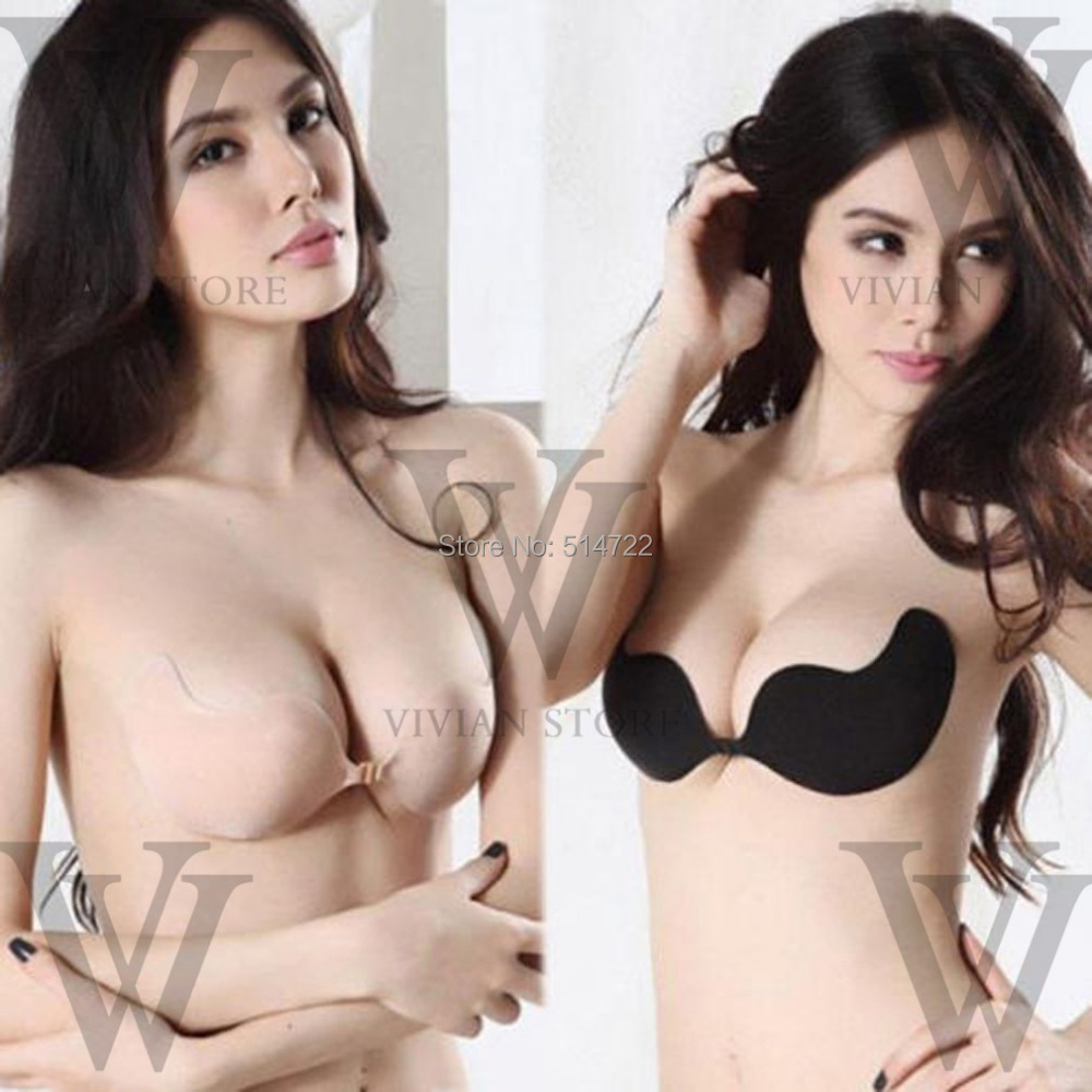 Hot Sale !!! Sexy woman Push Up Self-Adhesive Silicone Bust Front Closure Strapless Invisible bra F