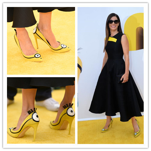 New Sandra Bullock Chick Minions Heels Bello Yellow Collection Women Pumps Patent Leather Pointed Toe Women Sandals Shoes Women(China (Mainland))