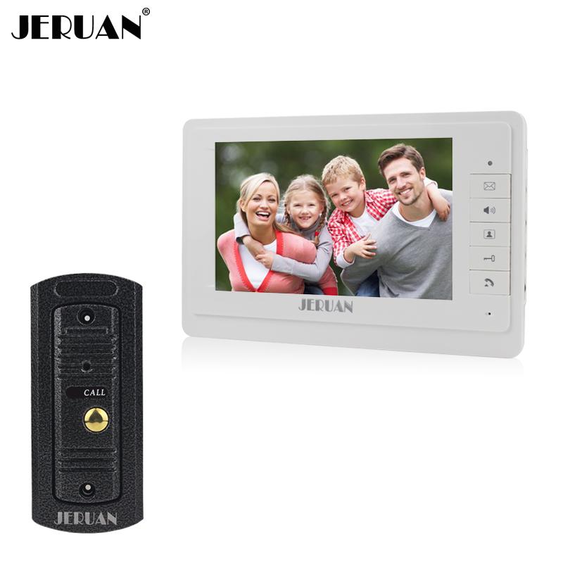JERUAN 7`` video intercom video doorphone speakerphone intercom system white monitor outdoor with waterproof & IR camera(China (Mainland))