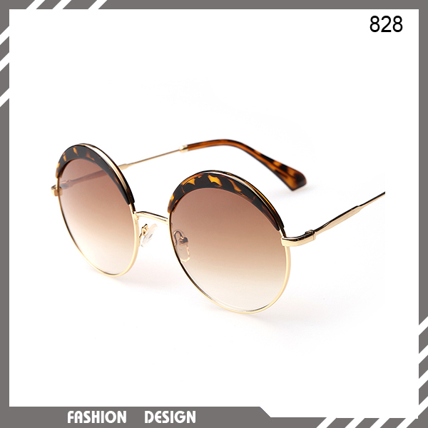 New arrival round fashion women leopard polarized sunglasses luxury designer metal frame clear lens glasses UV400(China (Mainland))