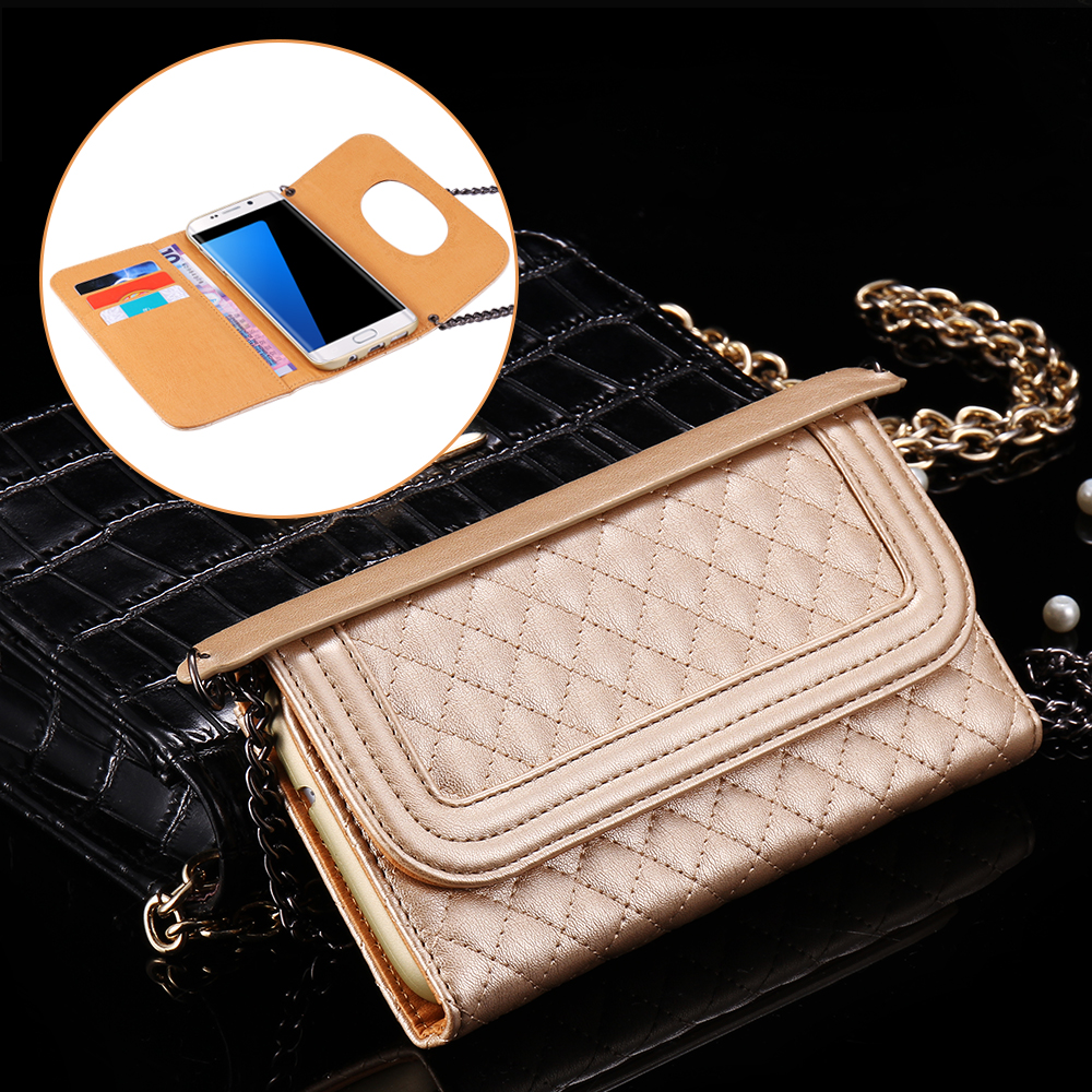 For S7 Edge Mobile Phone Bags With Makeup Mirror Crossbody Wallet Cover For Samsung Galaxy S7 Edge FLOVEME Long Metal Chain Case(China (Mainland))