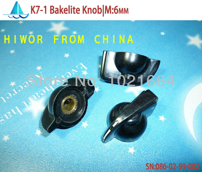 (20pcs/lot)(ASS|Knob)K7-1 Bakelite Knob, Mounting Hole 6MM, For Rotary potentiometer & Encoder & Rotary Switch(China (Mainland))