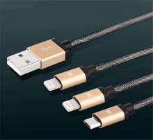 3in 1 Aluminum Micro USB Cable 1M Charging Mobile Phone Cables For iPhone 6 5S 5 Charger ios Data For Samsung Galaxy Android