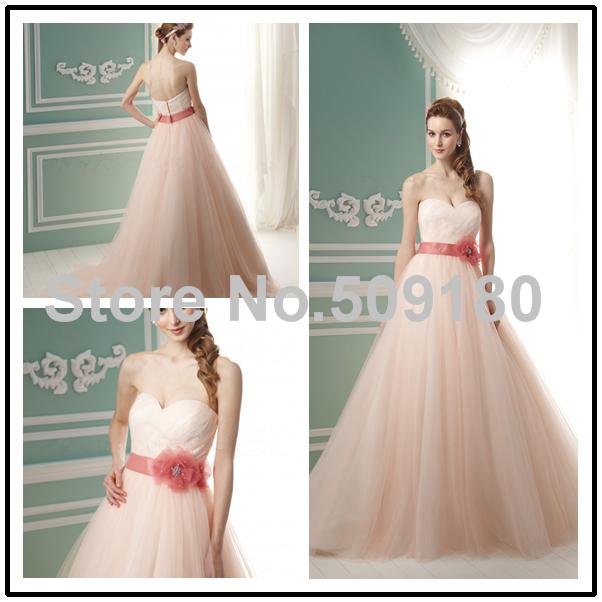Organza Pleated Sweetheart Neckline Bridal Custom Made Floor Length Long Wedding Gown design PX267 Peach Colored Wedding Dresses(China (Mainland))