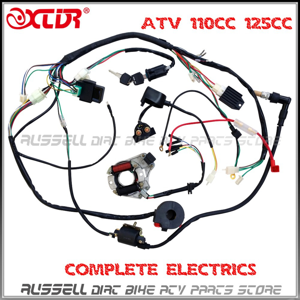 COMPLETE ELECTRICS ATV QUAD 50cc 70cc 110cc 125cc Ignition coil CDI Stator assembly wire wiring harness(China (Mainland))