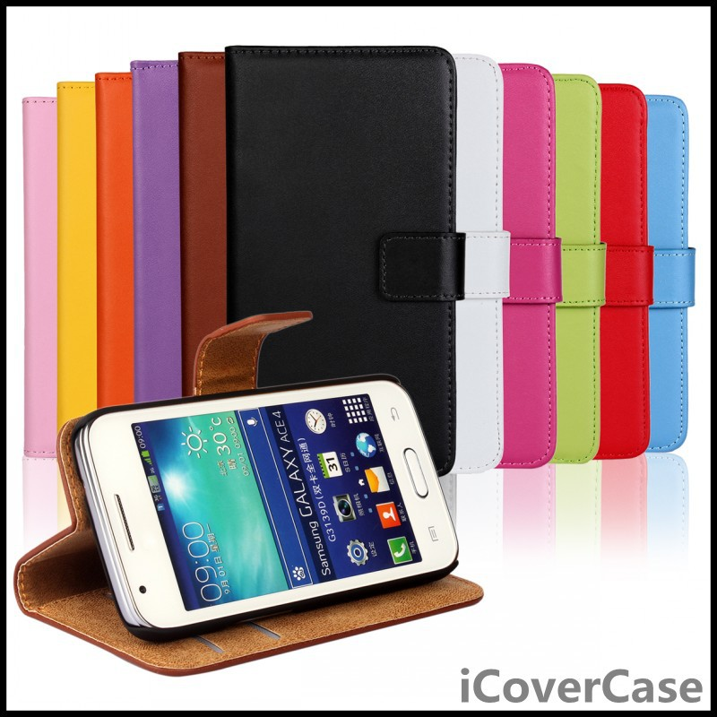 Stand TV Wallet Genuine Leather Case for Samsung Galaxy Ace 4 LTE G313 / LTE SM-G313F / Galaxy Trend 2(China (Mainland))