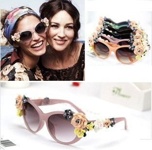 2015 New Arrival Fashion Summer sunglasses Wind Beach Rose cat eye sun glasses Soft Handmade Ceramic Flower Sunglasses For Women(China (Mainland))