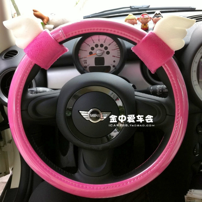 Car PINK PU Leather steering wheel cover 36cm/38cm for Honda Fit,for Civic; for BMW Mini cooper, Benz Smart, citroen C2 etc.(China (Mainland))