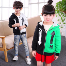 2016 Children's Clothing Boys Girls Color Matching Hoodie Cotton Spring & Autumn Kids Coats Jacket Boys Hoodies & Sweatshirts(China (Mainland))