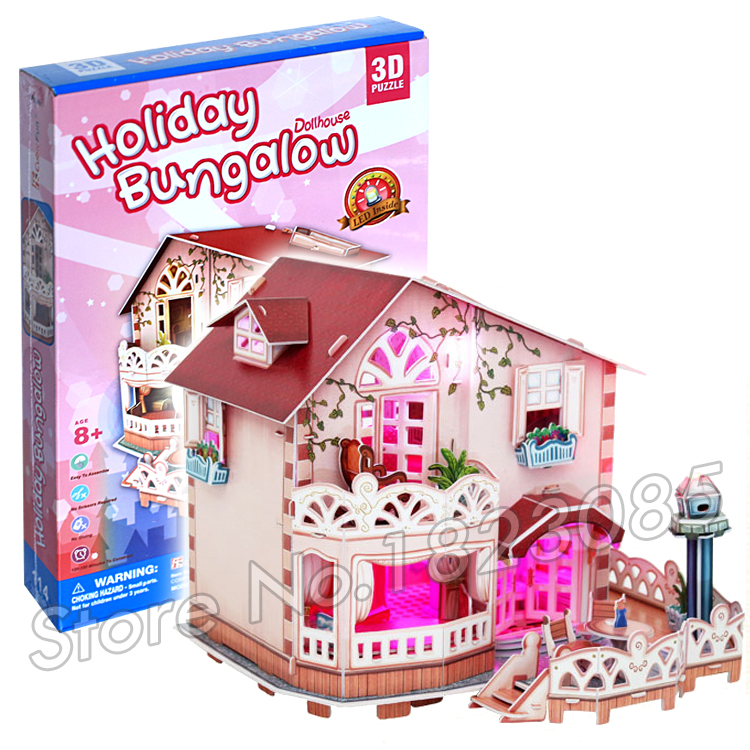 114PCS Holiday Bungalow Dollhouse Princess Series 3D Puzzle DIY Jigsaw Assembly Model Building Set Architecture Kids Girls Toys(China (Mainland))