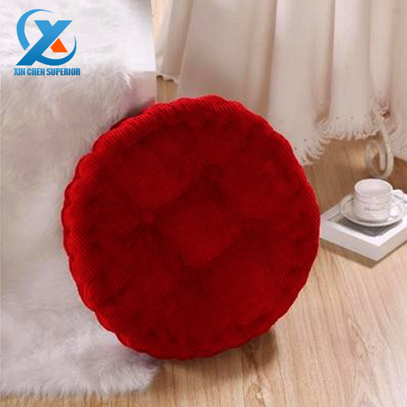 Solid Color Corduroy Cotton Thickened Round Sofa Cushion Soft Chair Seat Cushion Back Cushion 40x40cm Tatami