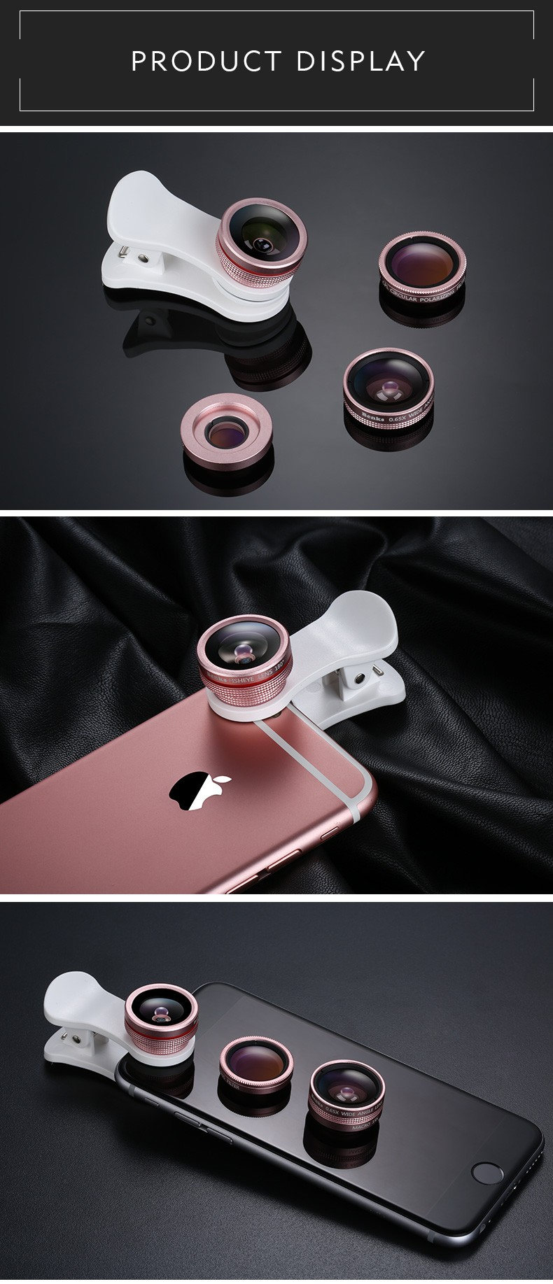 Benks 4 in 1 Wide-angle Macro Polariscope Fish-eye Clip Lens for iPhone Samsung Xiaomi Mobile Phones Front Back Camera Lenses
