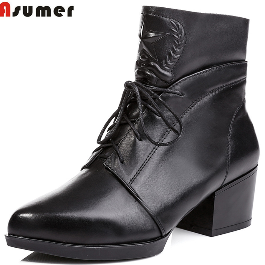 autumn and winter high quality red beige black lace up platform ankle boots genuine leather elegant and hot sale women boots<br>