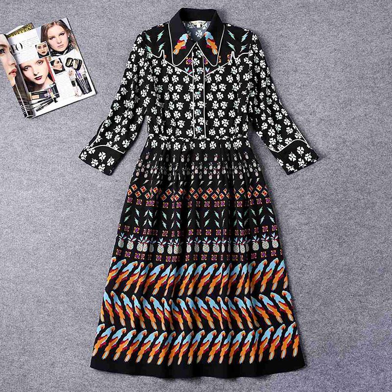 Runway Vintage Dress 2016 New Style Complicated Print Full Sleeve Knee Length Turn Down Collar Luxury Fashion Dress For WomanОдежда и ак�е��уары<br><br><br>Aliexpress