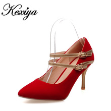 Sexy Pointed Toe Thin Heel women wedding shoes Plus size 30-47 fashion solid suede Mary Janes high heels small 30 31 32 33 - Nilanya store