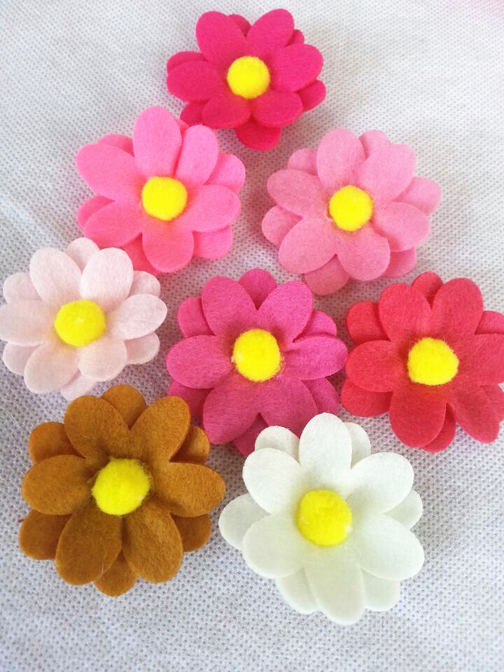 Fashion DIY Felt Flower Without Clip Baby Hairband Accessories Children Headband Accessories Hair Accessories 60pcs/lot(China (Mainland))
