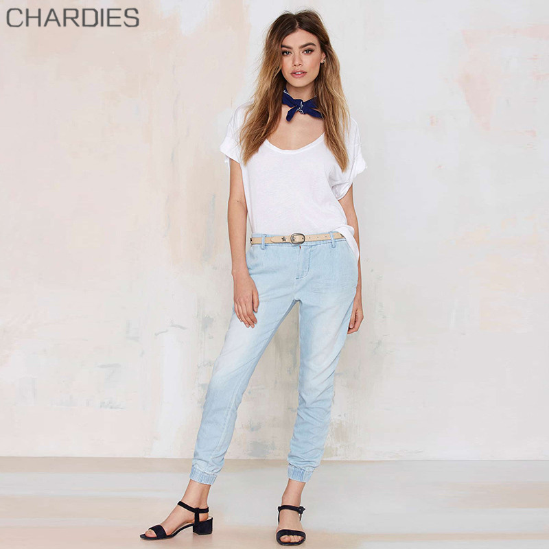 2015 European And US Spring Mid Waist Classical Pantalones Vaqueros Mujer Vintage Woman Washed Denim Sexy Jeans Trousers(China (Mainland))