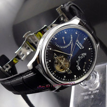 Parnis 43mm power reserve black dial movement date deployant clasp Automatic movement Men's watch 412(China (Mainland))