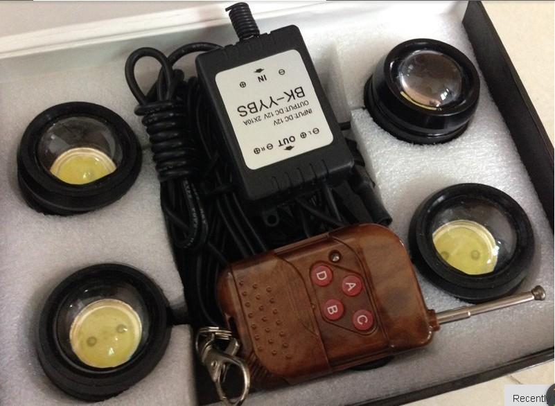 Sales 4 x 12W SMD LED Strobe Flash Eagle Eye White Light 6000k DRL Eagle Eye Led Bulb Lamp with DRL Wireless Remote(China (Mainland))