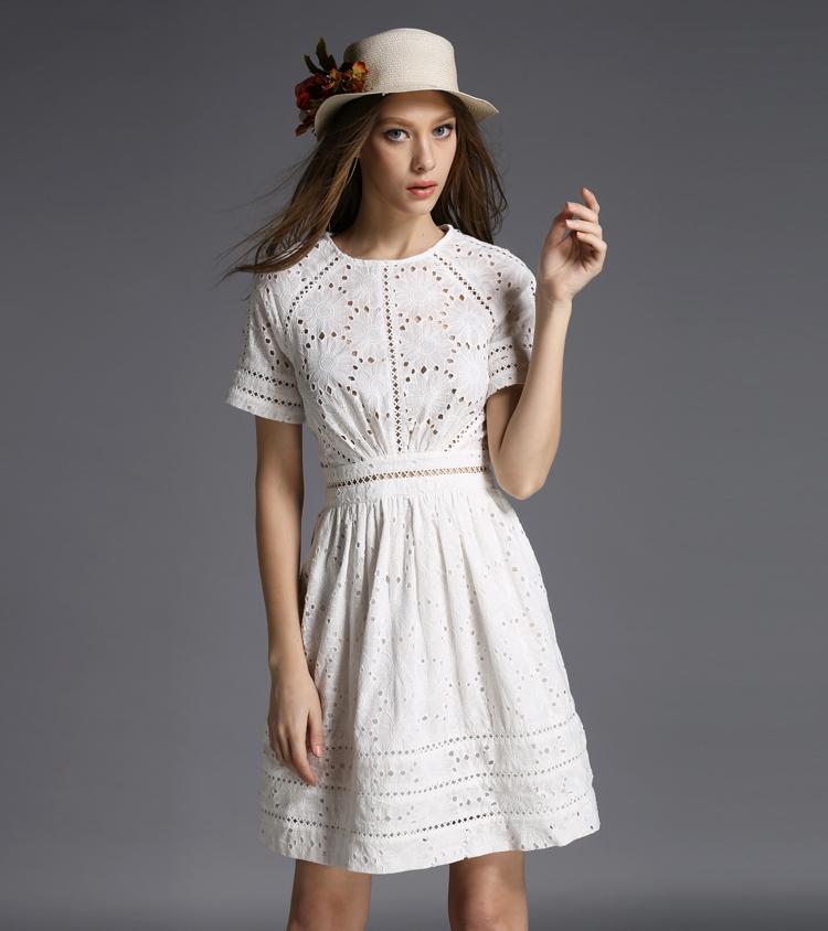 Kate Middleton Fashion Princess Dress Women's Elegant White Cotton Embroidery Hollow Casual High Quality mesh Dress sale(China (Mainland))