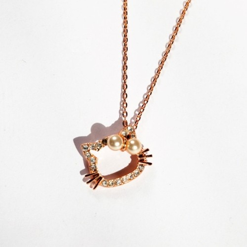 18KG Plated Fashion Simulated Pearl Lovely Cat Women's Short Design Necklace boxed N833(China (Mainland))