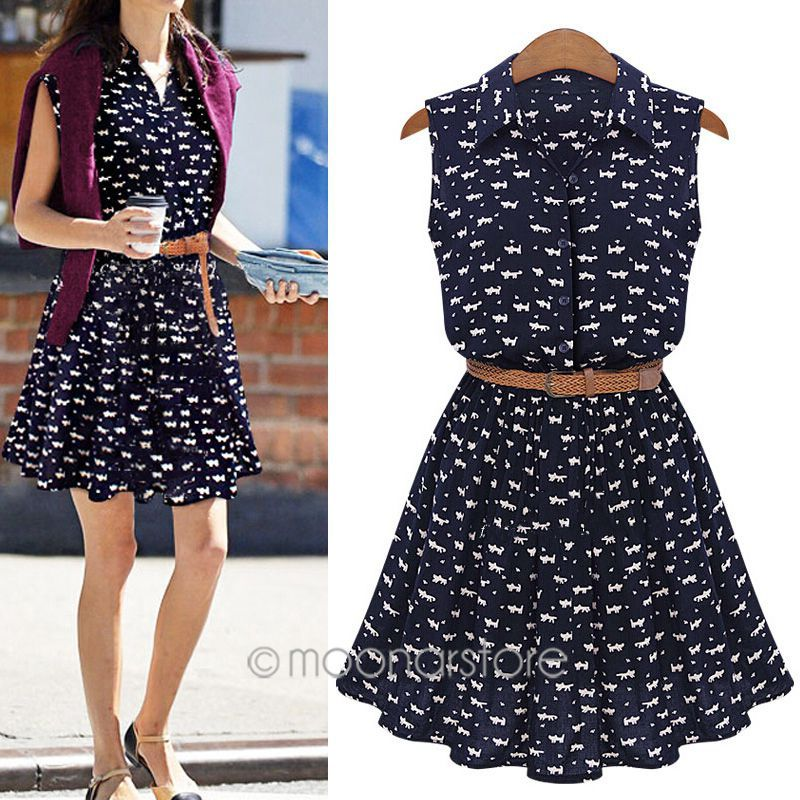 summer 2015 new women shirts dress Cat footprints pattern Show thin Shirt dress with Belt zE3253A4(China (Mainland))