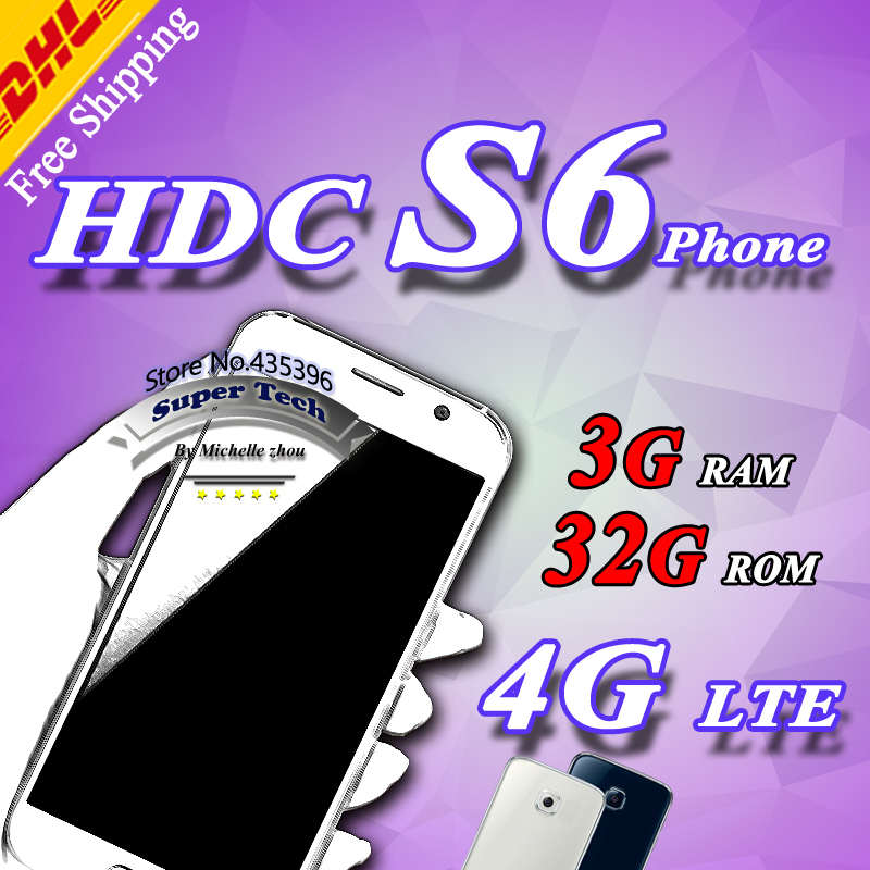 Real 4G LTE HDC S6 phone Freeship MTK6592 Octa core s6 mobile phone Lollipop 3G Ram