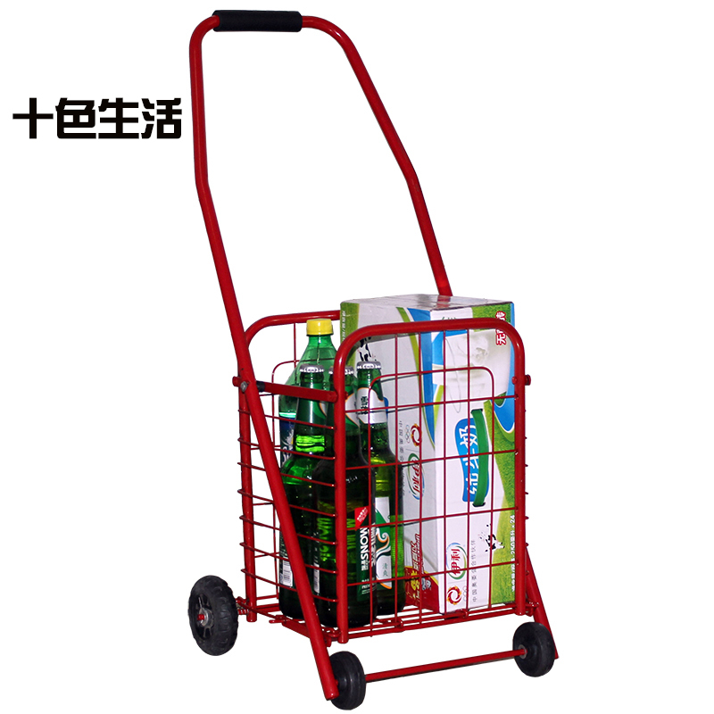 Four portable folding shopping cart supermarket trolley car trolley luggage trolley car driver pull a cart(China (Mainland))
