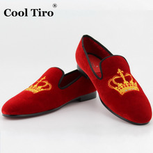 COOL TIRO Men Party and Wedding Handmade Loafers Men Velvet Shoes Smoking Slipper Slip-on Crown Embroidery Loafers Men's Flats(China (Mainland))