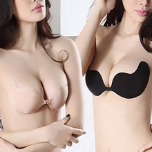 Women Sexy Push Up Bra Front Closure Self-Adhesive Invisible Silicone Seamless Strapless Bra For Wedding Party Swimming(China (Mainland))