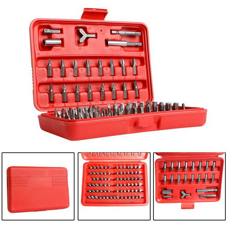 100 Piece/Set Security Bits Set with Hard Storage Case Torx Star Tamper Hex Phillips Slotted Tri Wing Metric and SAE Standard(China (Mainland))