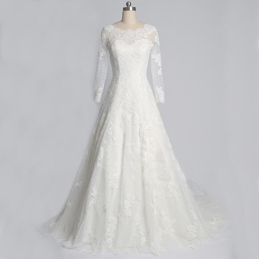 Plus size vintage long sleeve wedding dresses for Long sleeved plus size wedding dresses