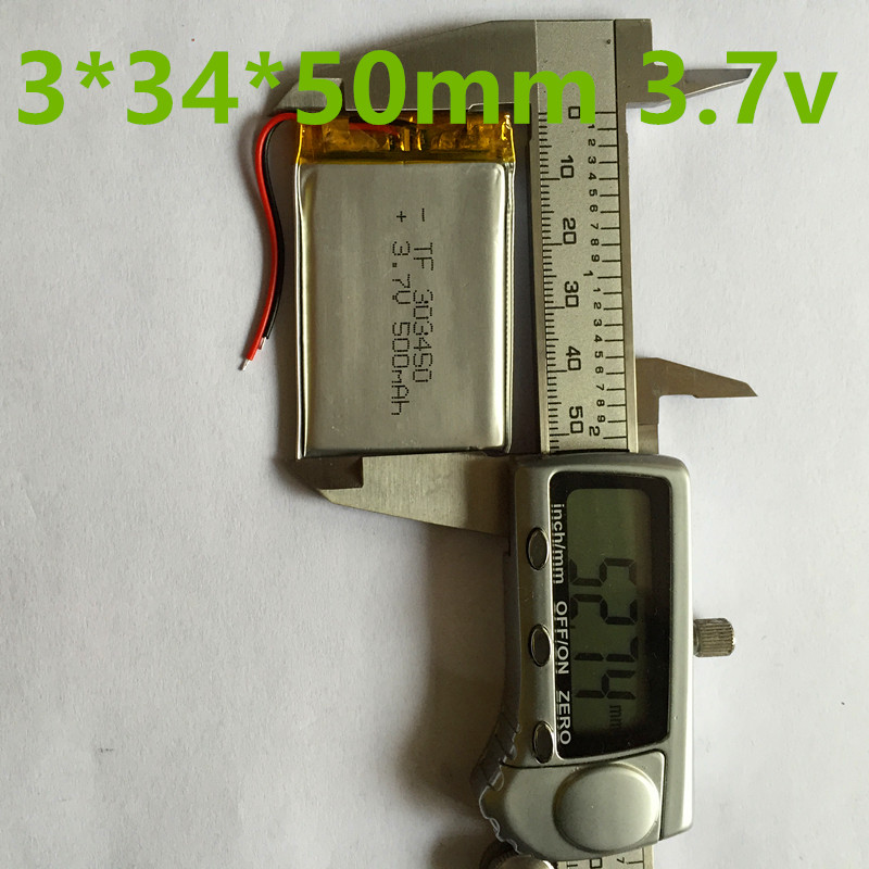 Factory wholesale direct digital equipment for small household appliances polymer batteries lithium battery 3.7V .303450 500 mAh(China (Mainland))