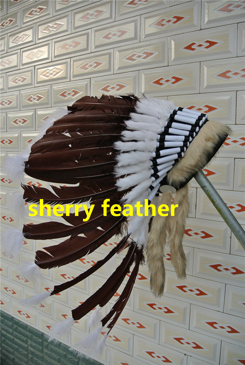 dark brown Indian Feather headdress indian war bonnet american costume indian chief feather bonnet hat halloween costume(China (Mainland))