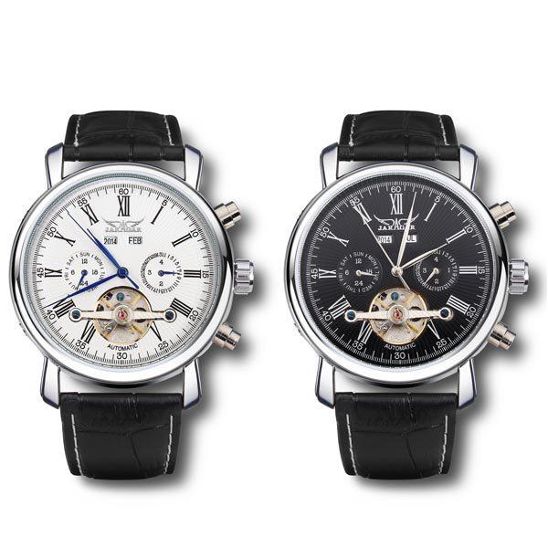 Jaragar механические турбийон белый черный мужские наручные часы