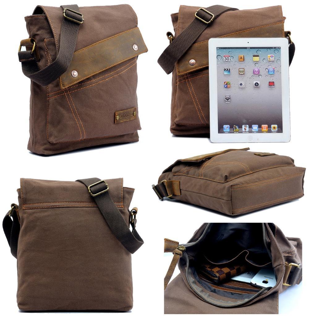 Men's Vintage Canvas Leather Messenger Bag Casual Shoulder Bag Crossbody Satchel Free Shipping(China (Mainland))
