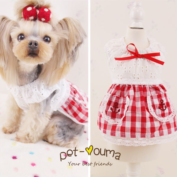 2016 new fashion puppy Chihuahua spring summer sweater plaid pet dog clothing skirts cheap teacup clothes for dogs dresses(China (Mainland))