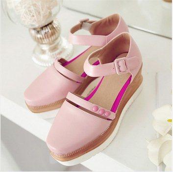 F9503 2015 Size 34-39 Macaron Color Square Toe Princess Sandals Closed Toe Ankle Strap Platform Fresh Small Rivet Wedges Sandals(China (Mainland))