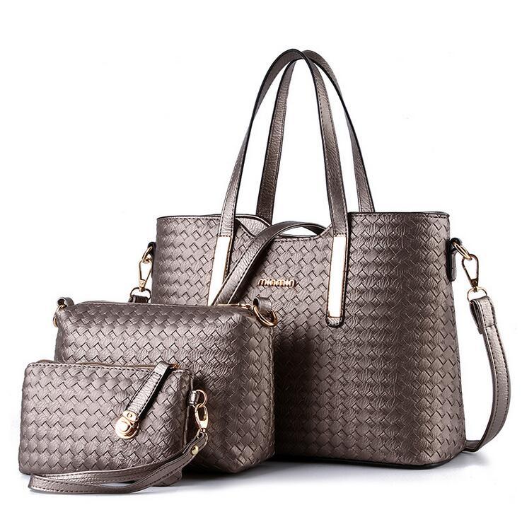 3pcs/Set Women Bag Weave Knitting Leather Composite Bag Ladies Messenger Bags Shoulder Handbag Purse Wallet Handbags Designer<br><br>Aliexpress