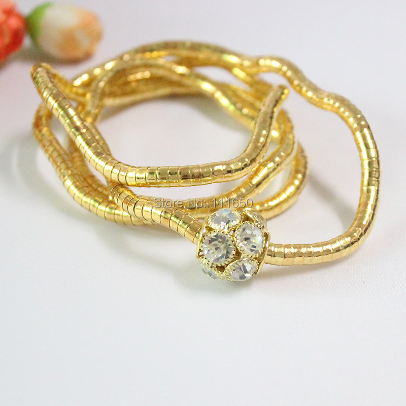 Newest 5MM 90CM Pure Gold And Copper With Rhinestone Beads Bendable Flexible Snake Necklace,10pcs/pack(China (Mainland))